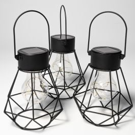 Set of 3 16.5cm Solar Metal Lanterns by Solaray