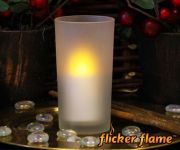 Flicker Flame� LED Stub Candle With Frosted Glass Holder