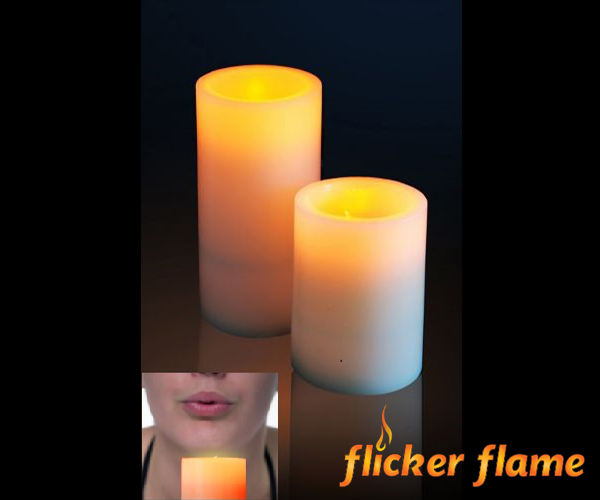 Flicker Flame™ Electronic Real Wax Small LED Candle with Blow On and Off Function