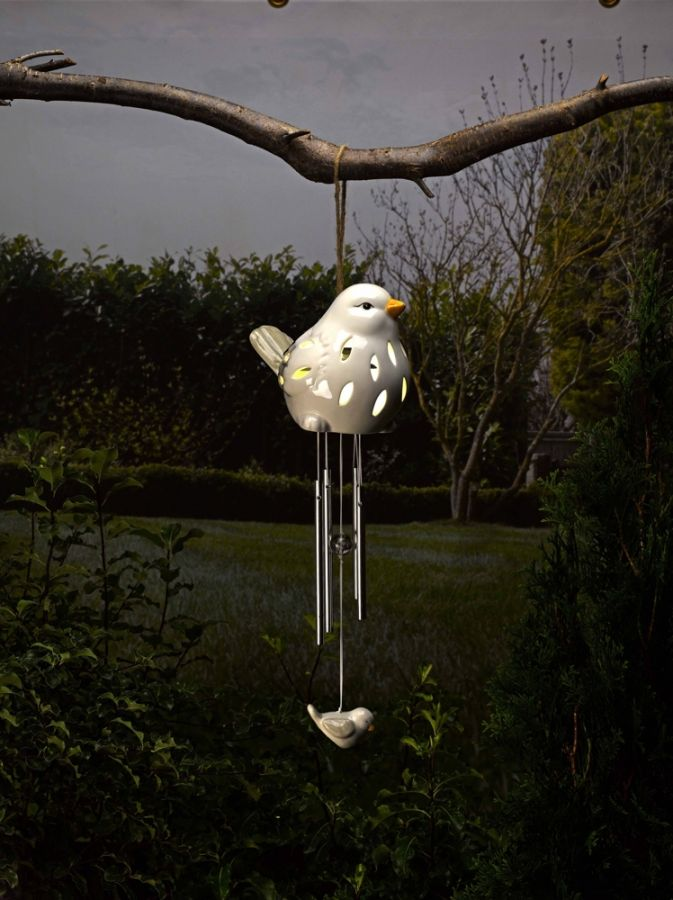 Smart Solar Ceramic Bird Windchime Light - White