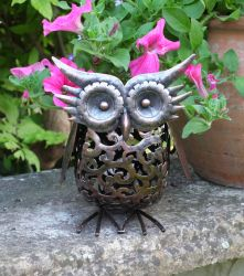 Solar Powered Metal Scroll Owl Light by Smart Garden