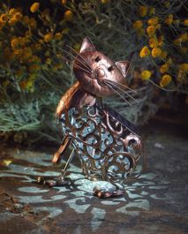 Solar Powered Metal Decorative Cat Silhouette by Smart Garden