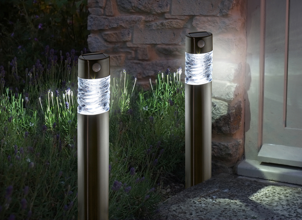 Set of 2 Pharos Motion Activated Solar Garden Bollard Lights by Smart Solar