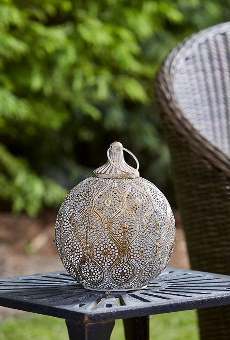 Brushed Gold Antique Lantern by Smart Garden