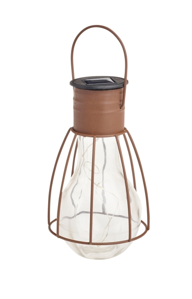 Solar Powered Warm White LED Caged Lightbulb Lantern