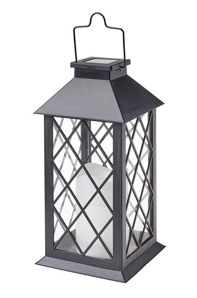 Traditional Candle Solar Lantern in Black - Large