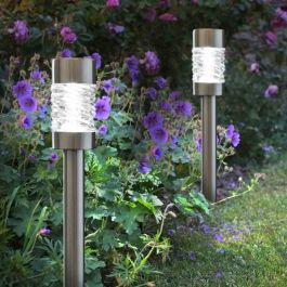 Pack of 3 5L Solar Powered Martello Stainless Steel Garden Stake Lights