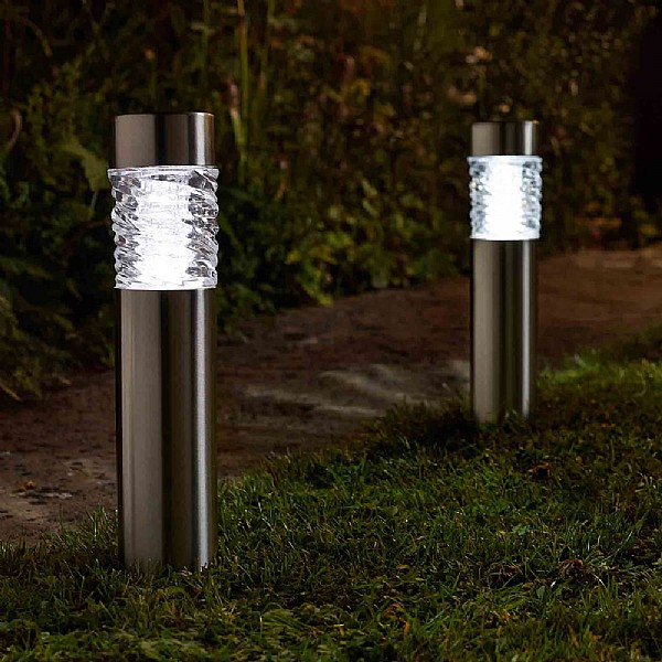 Pack of 4 3L Solar Powered Stella Stainless Steel Bollard Lights by Smart Solar