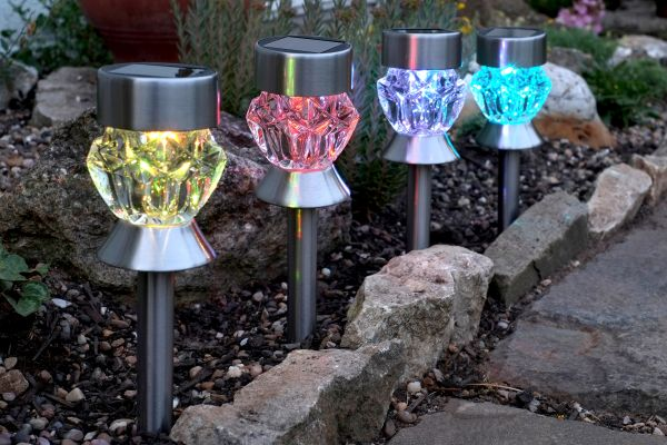 Pack of 4 Solar Powered Crystal Glass Lights Carry by Smart Garden