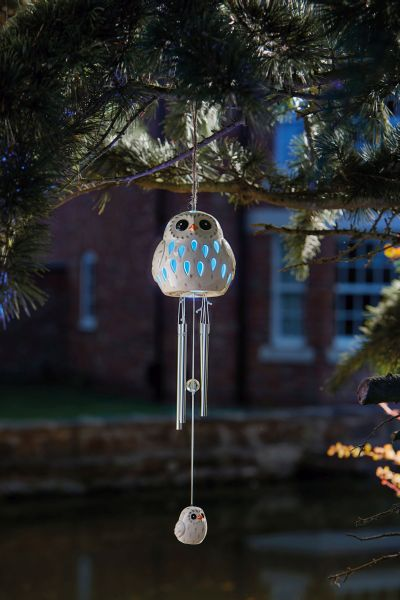 Solar Powered Decorative Ceramic Snowy Owl Wind Chime by Smart Solar