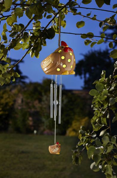 Solar Powered Decorative Ceramic Hen Wind Chime by Smart Solar