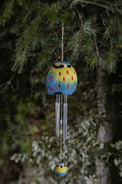 Solar Powered Decorative Ceramic Blue Tit Wind Chime by Smart Solar