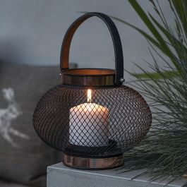 H17cm Medium Black Mesh Zora Lantern by La Hacienda