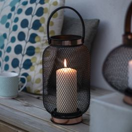 H29cm Large Black Mesh Zora Lantern by La Hacienda