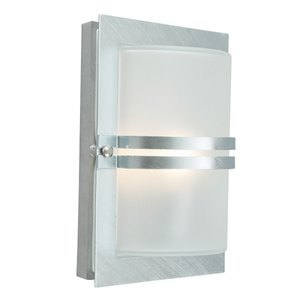 Elstead Basel Galvanised Frosted Outdoor Light