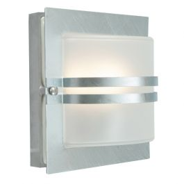 Elstead Bern Galvanised Frosted Outdoor Light