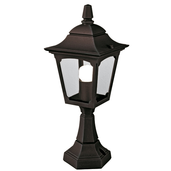 Chapel Mini Outdoor Pedestal Lantern in Black