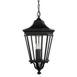 Cotswold Lane Large Chain Outdoor Lantern in Black