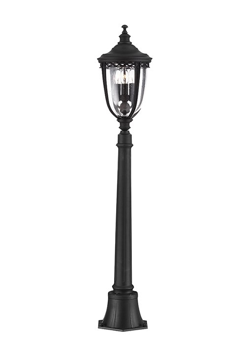 Elstead English Bridle 3lt Pillar Lantern in Black - Medium