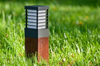 Halmstad Medium Wooden Outdoor Bollard Light E27 Galvanised