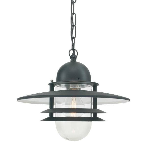 Elstead Oslo Chain Outdoor Lantern in Black Clear