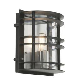 Elstead Stockholm Flush Outdoor Light E27 in Black Clear