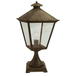Turin Grande Outdoor Pedestal Light in Black Gold