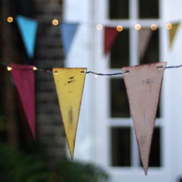 3.5m/11ft 5in Hand-Made Multi Coloured Bunting With 36 Battery Powered Warm White Lights