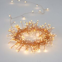 3.5m/11ft 5in Cluster Copper Battery Powered 80 Warm White String Lights