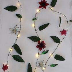 2.3m/7ft 6in Hand Made Clematis Battery Powered 20 Warm White String Lights