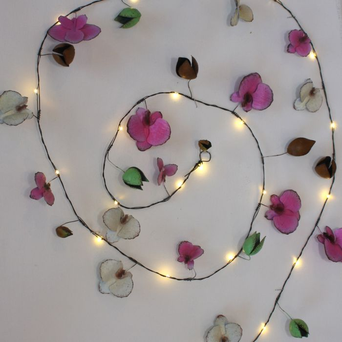 2.3m Hand Made Orchid White String Lights - Battery Powered