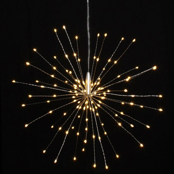 30cm / 12in Silver Starburst Battery Powered Pendant with 120 Warm White Lights