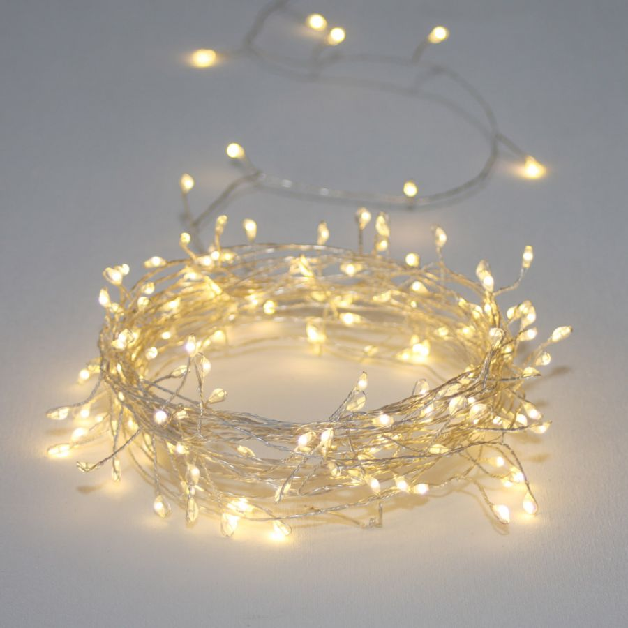 300 (20m/65ft 7in) Warm White Cluster Silver Mains Powered String Lights