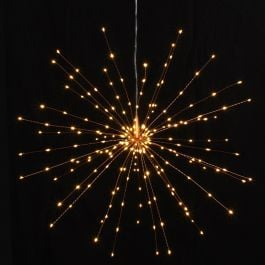 50cm/19.6in Copper Starburst Mains Powered Pendant with 200 Warm White Lights