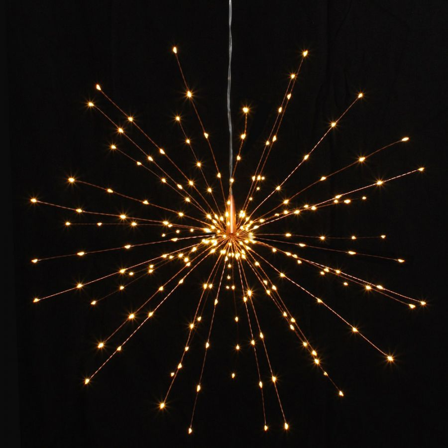200 (50cm/19.6in) Warm White Copper Starburst Mains Powered Pendant Lights