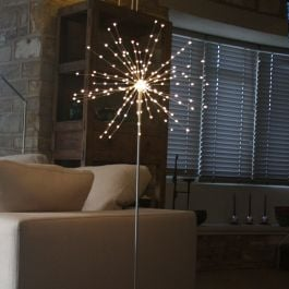 1.25m/49.2in Silver Free Standing 50 cm Starburst Pendant Mains Powered with 200 Warm White Lights