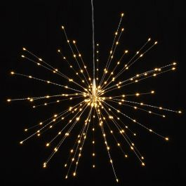 50cm/19.6in Silver Starburst Mains Powered Pendant with 200 Warm White Lights