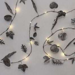 2.3m/7ft 6in Hand Made Silver Leaves Battery Powered 20 Warm White String Lights