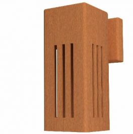 25cm (9.8in) Corten Steel Outdoor Wall Light, Three Strip Pattern