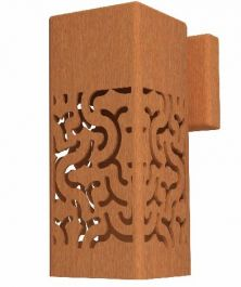 25cm (9.8in) Corten Steel Outdoor Wall Light, Branch Pattern