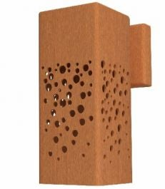 25cm (9.8in)  Corten Steel Outdoor Wall Light, Bubble Pattern
