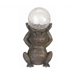 Solar Powered LED Globe Gazing Frog Garden Ornament By Smart Solar
