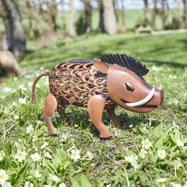 Solar Powered LED Warthog Silhouette Detail Garden Ornament By Smart Solar