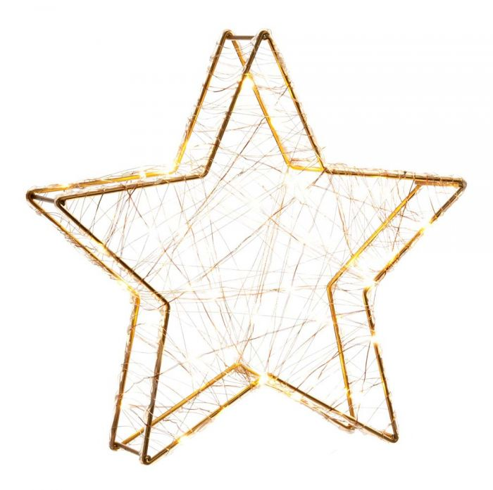 32cm Gold Star Decoration With 80 Warm White LEDs