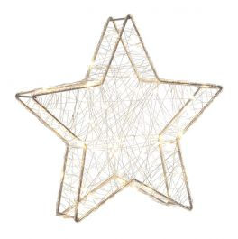 32cm Silver Star Decoration With 80 Warm White LEDs