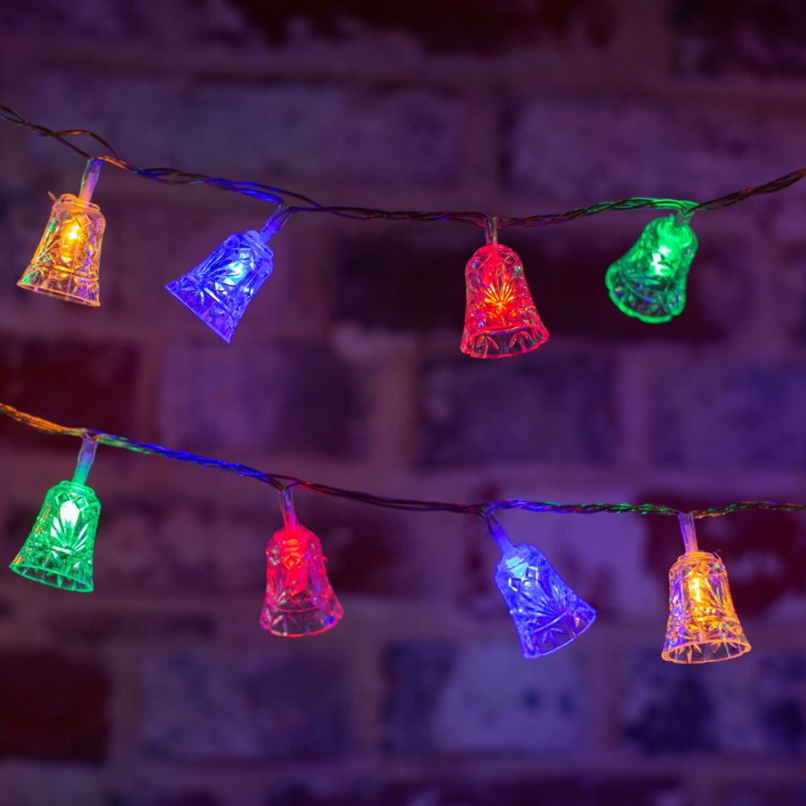 100 Multicoloured LED Bell String Lights