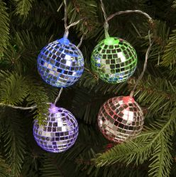 10 Multi-coloured Battery Operated Disco Ball String Lights