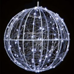 25cm Battery Operated Hanging Ball Light With Cool White LEDS