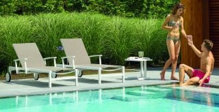 Anabel Sunlounger in White/Khaki