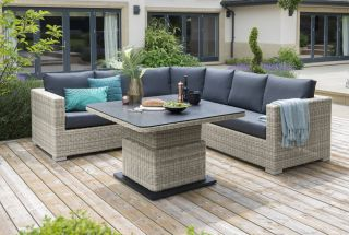 Aya Rattan 7 Seater Round Corner Sofa Set in Grey/Carbon